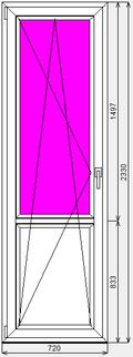 Готовая дверь ПВХ Dexen 58 720x2330