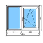 Окно ПВХ ламинированное Dexen 58 900-1170 П/О СПО