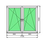 Окно ПВХ Dexen 58 1500-1720 СП2