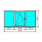 Окно ПВХ KBE 1430-2750 П/О СП2