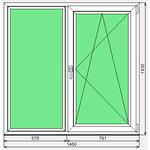 Окно ПВХ Dexen 58 1460x1430