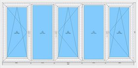 Готовая рама балконная Dexen 58 1460x3220 СПО
