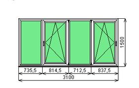 Готовая рама балконная Dexen 58 1500х3100 СП2