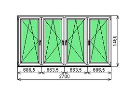 Готовая рама балконная Dexen 58 1460х2700 СП2