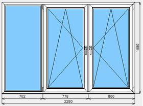 Окно ПВХ KBE Эксперт 2280x1580