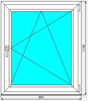 Окно ПВХ Dexen 70 Л 990x1160
