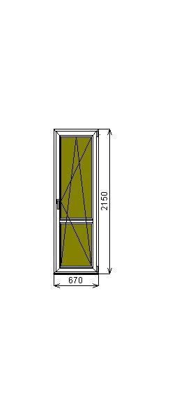 Дверь ПВХ GrunHouse 58 2150*670