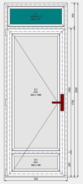 Дверь ПВХ Dexen П 2 2090-760 П Ч1