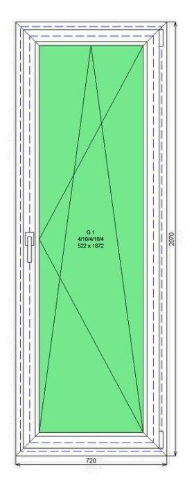 Готовая дверь ПВХ Rehau Grazio 2070-720 П/О СП2