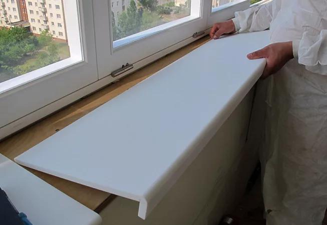 установка подоконника в окна пвх